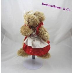 Teddy bear 23 cm long red hair dress apron BUKOWSKI