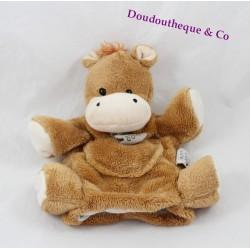 Doudou marionnette cheval HISTOIRE D'OURS marron HO2374