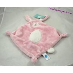 Doudou rabbit flat TEX BABY pink oval white diamond 38 cm