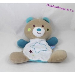 Bear flat Doudou blue stars candy CANE embroidered 20 cm