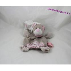 Doudou plat ours BABY NAT beige rose fleurs 23 cm