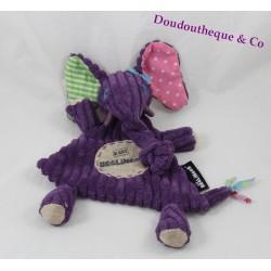Doudou plat Sandykilos Les Déglingos violet rose vert Baby Déglingos 30 cm