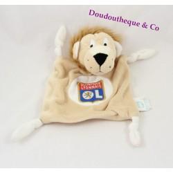 Doudou plat lion OLYMPIQUE LYONNAIS foot OL beige 4 noeuds