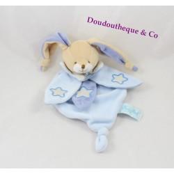 Doudou rabbit flat BABY NAT' White Star Blue luminescent glow in the dark 23 cm