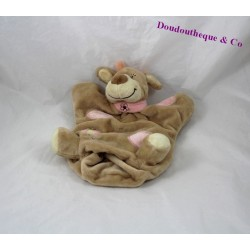 Doudou puppet cow baby 9 beige pink 24 cm