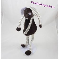 Doudou lapin BOUT'CHOU marron rayé gris blanc écharpe 43 cm