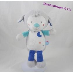 Doudou mouton SUCRE D'ORGE lune bleu blanc gris 24 cm