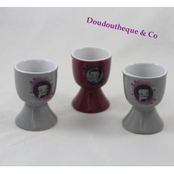 Set of 3 egg cups Betty Boop ceramic grey pink License