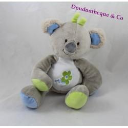 Doudou Arthur koala ARTHUR ET LOLA BEBISOL gris bleu vert 25 cm