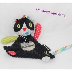 Doudou plat Charlos chat Les Déglingos noir rouge vert Baby Déglingos 25 cm
