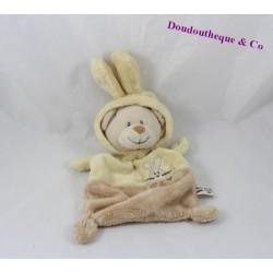 Doudou plat ours déguisé en lapin GRAIN DE BLE jaune marron 23 cm