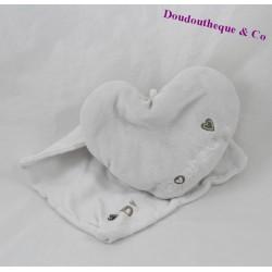 Doudou handkerchief heart FM SERVICE gray happiness 13 cm