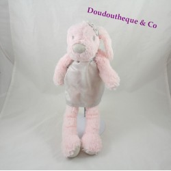 Peluche chien PRIMARK rose robe gris brillante 34 cm