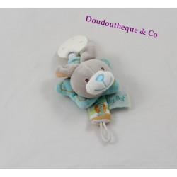 Attache tétine Stello lapin BABY NAT' Stello et Stella bleu 18 cm