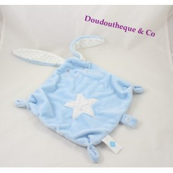 Doudou plat lapin TEX BABY bleu étoile ovale blanc losange 48 cm