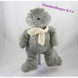 Peluche chat MINOUCHE gris écharpe beige 30 cm