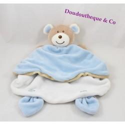 Doudou marionnette ours AJENA bleu ciel beige