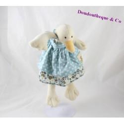 Doudou Jeanne la cane MOULIN ROTY La Grande Famille oie canard robe bleue 30 cm