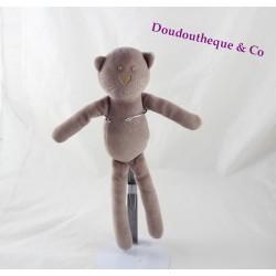 Doudou chat BOUT'CHOU Monoprix mauve violet 30 cm