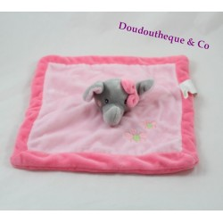 Doudou flat elephant KIMBALOO Hall square pink 25 cm
