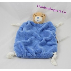 Bear flat Doudou KALOO blue feather dark 4 knots tissue 24 cm