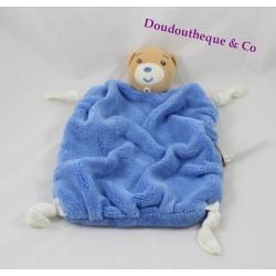 Doudou plat ours KALOO plume bleu foncé 4 noeuds tissus 24 cm
