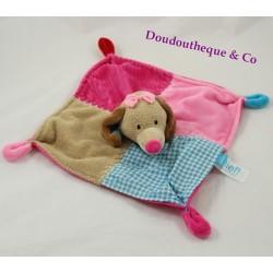 Doudou plat chien LIEF ! rose bleu beige Lifestyle 4 noeuds 24 cm