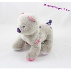 Doudou cat candy CANE grey with embroidered dragonflies