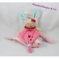 Doudou rabbit BABY NAT flat Perle' Pearl and pink blue Perlim heart 25 cm