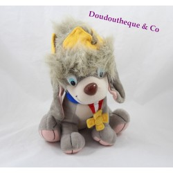 Peluche Pooka chien GALOOB Anastasia chien gris couronne tête 26 cm
