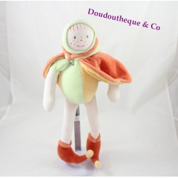 Peluche poupée MOULIN ROTY orange vert feuille Mini pouce lutin 35 cm