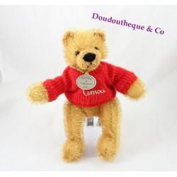 Doudou Ours DOUDOU ET COMPAGNIE  Timou pull  rouge brodé