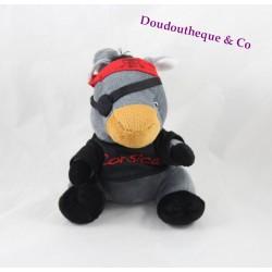 Peluche âne CORSICA pirate gris noir et rouge 20 cm