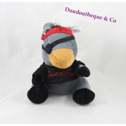Plush donkey pirate CORSICA gray black and Red 20 cm