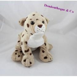Peluche léopard SOFT FRIENDS beige taches marron 26 cm