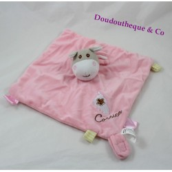 Doudou flat donkey CORSICA attached pink pacifier labels 25 cm