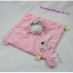 Doudou plat âne CORSICA rose attache tétine étiquettes 25 cm