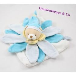 Doudou plat ours DOUDOU ET COMPAGNIE pétale fleur bleu collector
