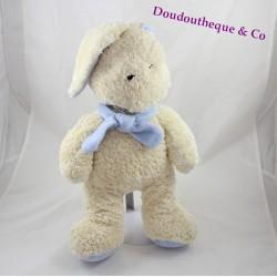 Peluche lapin MINOUCHE beige écharpe bleu 36 cm