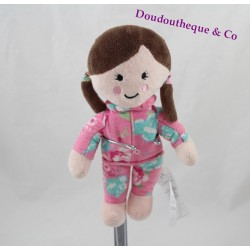 Doudou fille PRIMARK EARLY DAYS pyjama rose fleurs 22 cm