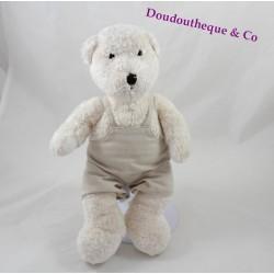 Peluche ours J-LINE blanc salopette beige lin 28 cm