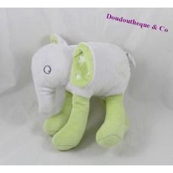 Doudou elephant GRAIN of wheat white green 18 cm
