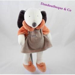 Peluche lapin LINVOSGES Les trois ours robe beige orange 28 cm