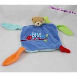 Doudou plat ours KALOO Colors hibou bleu 23 cm