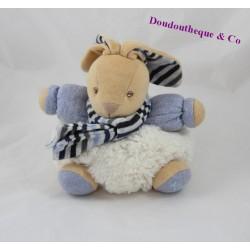 Doudou boule lapin KALOO Blue Denim écharpe rayures 18 cm