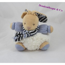 Doudou rabbit KALOO Blue Denim scarf stripes 18 cm ball