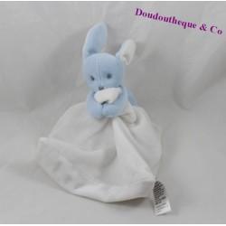 Doudou mouchoir lapin JACADI bleu blanc 12 cm