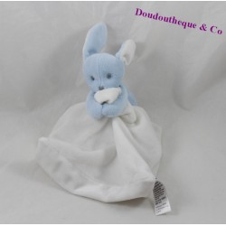Doudou rabbit 12 cm blue white JACADI handkerchief