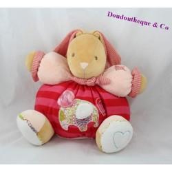 Doudou lapin KALOO Bliss patapouf éléphant fleuris rose rouge grelot 30 cm