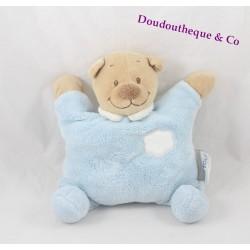 Doudou semi plat Ours NATTOU ours nuage bleu grelot  24 cm